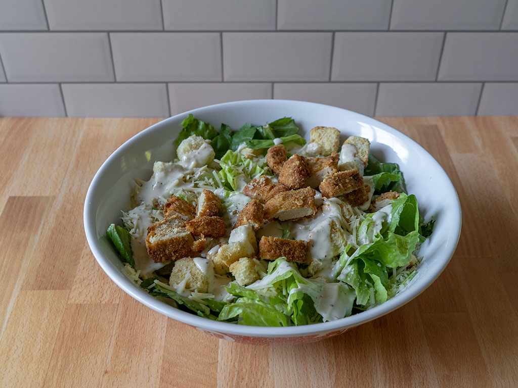 Caesar Salad With Gardein Chicken Nuggets