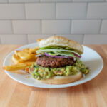 Guacamole burger and Tajinn fries