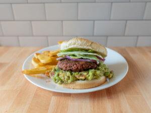 Guacamole burger and Tajinn fries